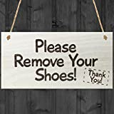Red Ocean Please Remove Your Shoes! Thank You! Take Your Shoes Sign Hanging Door Sign Wooden Plaque Gift by Red Ocean