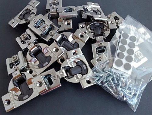 33600 Series - 10 Pcs (Five Pairs) Soft Close Blum Blumotion Screw On Hydraulic Compact Hinge - 38N SERIES 105 deg 3/8 IN OVERLAY WITH SCREWS