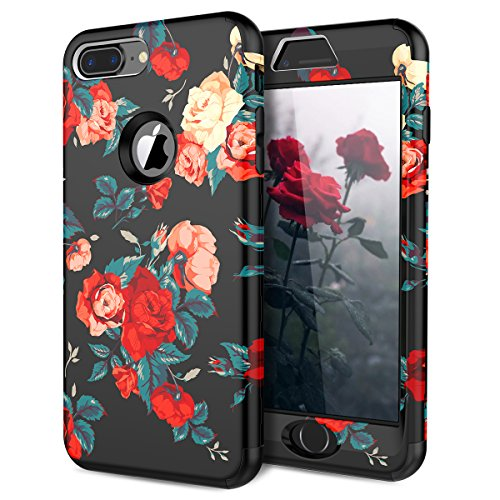 iPhone 8 Plus / 7 Plus Case, WeLoveCase 3 in 1 Shockproof Armor Defender Case High Impact Heavy Duty Protective Cover with Flower Floral Printed Pattern Design for iPhone 8 ()