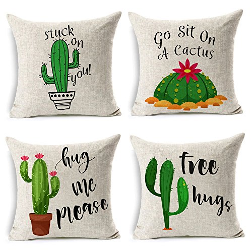 MIULEE Pack of 4 Summer Style Cactus Decor Throw Pillow Cover Green Plants Decorative Cotton Linen Burlap Square Outdoor Cushion Cover Pillow Case for Car Sofa Bed Couch 18 x 18 Inch