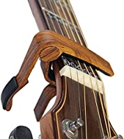 Rinastore 6-String Acoustic & Electric Guitar Capo- Single Handed Quick Change Capo, Rosewood Color