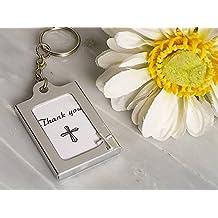 120PC CC4322 Memorable Moments Cross Design Keychain Photo Frame Favors Wedding