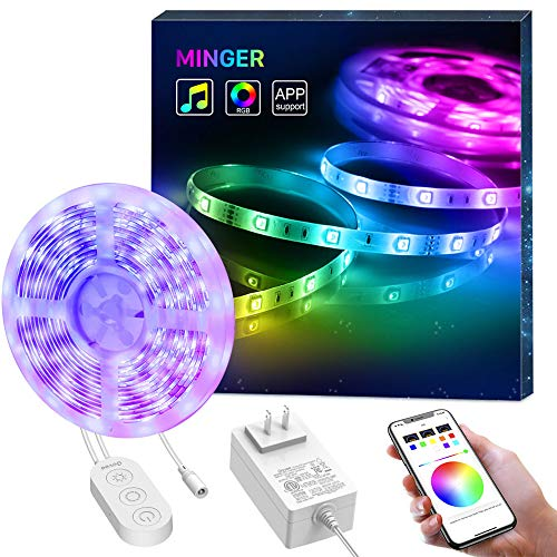 MINGER LED Strip Lights, 16.4ft Color Changing Light Strip Music Sync, Bluetooth APP Control RGB LED Lights, Waterproof 5050 Strip Lights for Dorm Room Bedroom Home Party Decoration