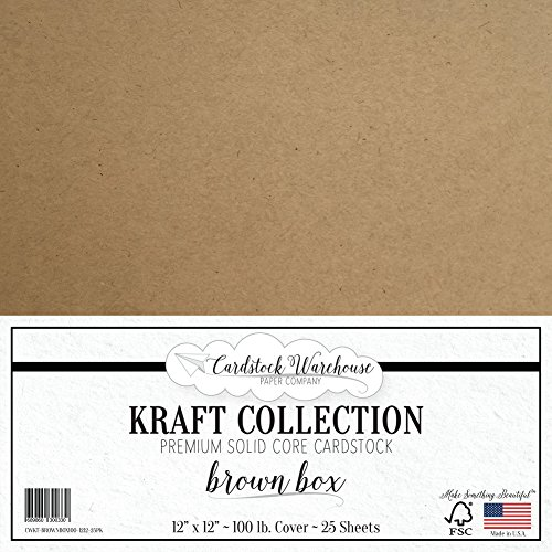 Brown Kraft Recycled Cardstock from Cardstock Warehouse - 12'' x 12'' - Premium 100 LB. Cover - 25 Sheets by Cardstock Warehouse