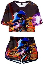 Silver Basic Girls's Yoga Clothing Sets Sonic The Hedgehog T-Shirt and Shorts Set Paj