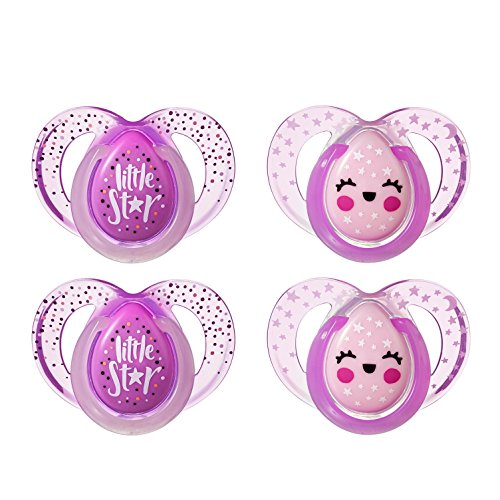 Tommee Tippee Closer to Nature Night Time Orthodontic Infant Soother Pacifier, 6-18 Months - Pink, Girl, 4 Pack