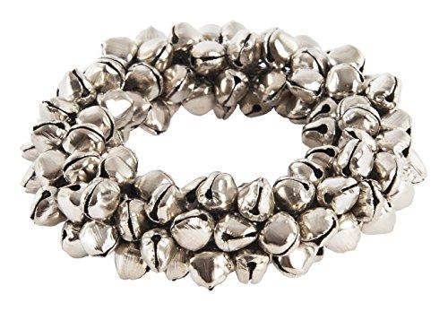 (SARO LIFESTYLE Petite Bell Napkin Rings (4 Pack), Silver, 3