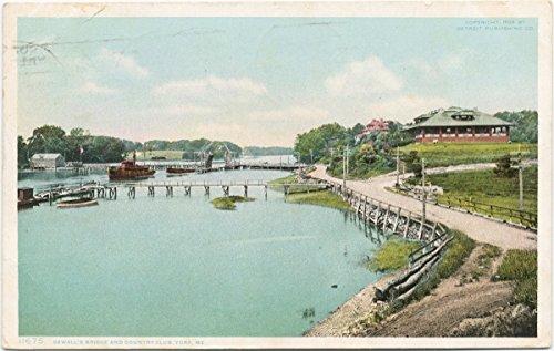 Historic Pictoric Postcard Print   Sewall's Bridge and Country Club, York, Me, 1907   Vintage Fine Art