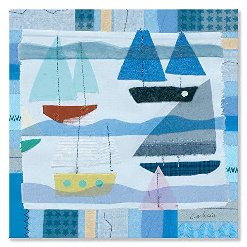 Oopsy Daisy Blue Sailboats by Maria Carluccio Canvas Wall Art, 14 by 14-Inch ()