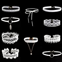 Hunputa 10 Pieces White Choker Necklace Set Stretch Velvet Classic Gothic Tattoo Lace Flowers Choker Necklace Jewerly