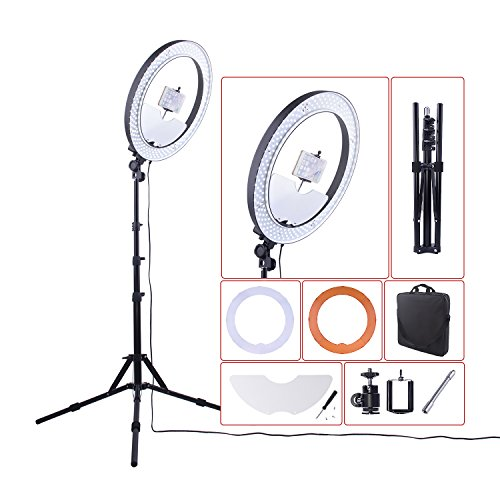18'' Ring Light 55W 5500K Dimmable LED Lighting Kit with Mirror/Tripod Stand for DSLR Camera iphone Smartphone Studio Makeup Youtube Vine Self-Portrait Video Shooting by FOSOTO