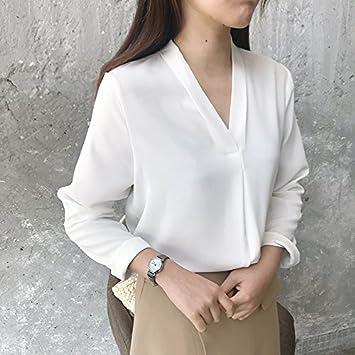 XXIN Camiseta Blanca/Mujer Pijama Cuello V De Color Sólido ...