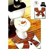 Jastore ®schwarz Schneemann dekoration Weihnachtsdeko WC Toillete Set Sitzbezug & Teppich & Gewebe...