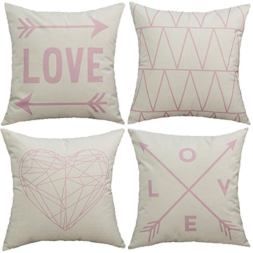 TongXi Light Pink Love Arrows Geometric Style Decorative Pillow Covers 18x18 inches Set of 4 (Covers Light Pillow Pink)