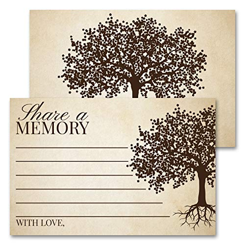 Deluxe Share A Memory Card Celebration of Life, Funeral Memorial Rememberance Service, Condolence Book, Retirement, Tree of Life Guestbook Alternative Pack of 40 4 x 6