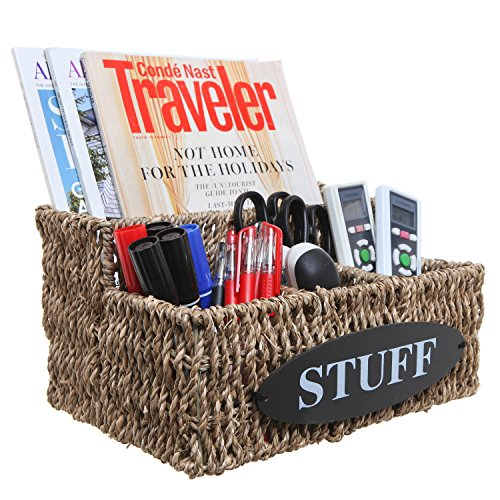 MyGift Beige Woven Seagrass 'STUFF' Design Desktop Storage Shelf Basket/Multipurpose Organizer (Decorative Caddy)