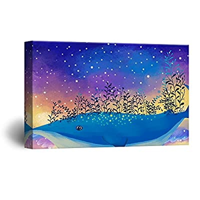 Hand Drawing Style Mystical Starry Night Above The Blue Whale with Flowers Gallery 16x24 inches