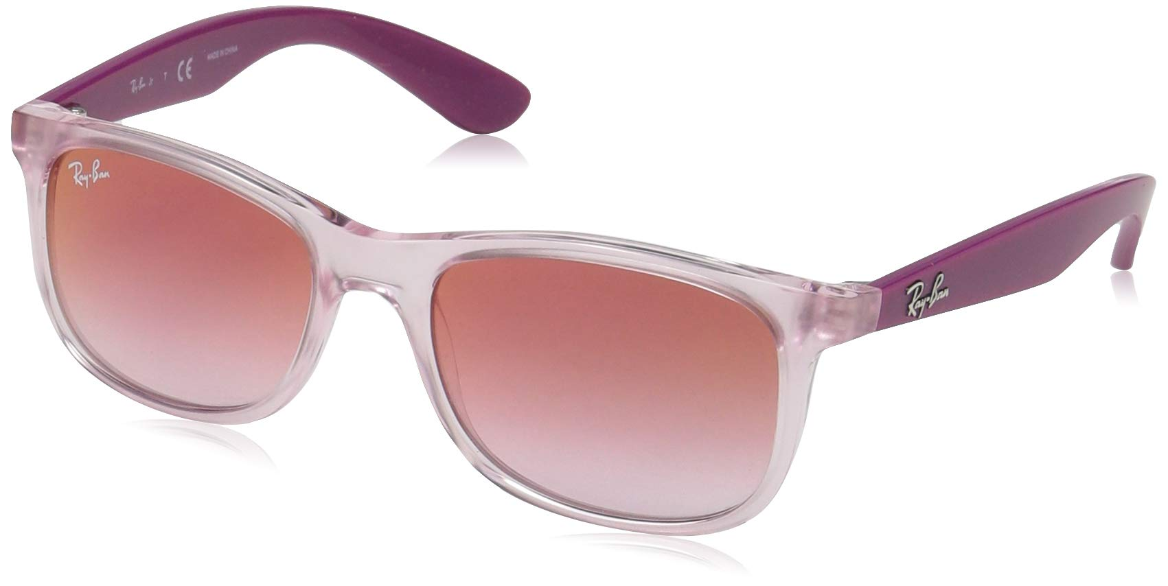 RAY-BAN JUNIOR Kids' RJ9062S Rectangular Kids Sunglasses, Transparent Pink/Red Gradient Mirror, 48 mm by RAY-BAN JUNIOR