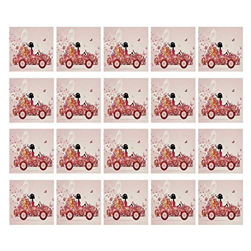 C COABALLA Cars 3D Ceramic Tile Stickers 20 Pieces,Girl on a Car with Floral Present Boxes Butterflies Daisies Little Hearts for Home,3.9