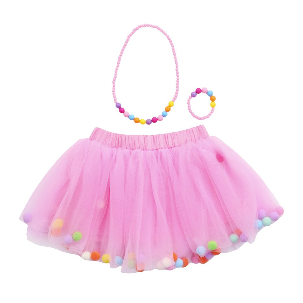 QinMM Falda Collar Ni/ña Chicas Enaguas Tut/ú Vistoso Vestir Ropa de Baile Disfraz Pulsera
