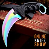 Cheap New TACTICAL COMBAT KARAMBIT NECK Eco'Gift LIMITED EDITION Knife with Sharp Blade Survival Hunting Fixed Blade RAINBOW FADE