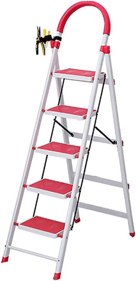 CHD - escalera telescópica Taburete de peldaño de metal de hierro plegable Taburete de peldaño de escalera para adulto pesada escalera plegable plegable / escalera con mango y pedal antideslizante tab