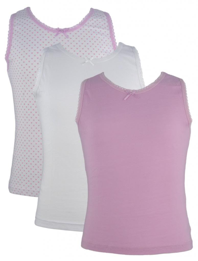 3 Pack of Girls 100% Cotton Vests White / Pink