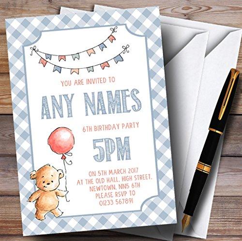 - Boys Blue Teddy Bear Picnic Childrens Birthday Party Invitations