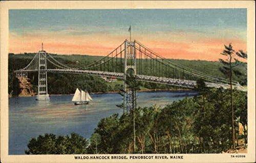 Waldo-Hancock Bridge Verona Island, Maine Original Vintage Postcard