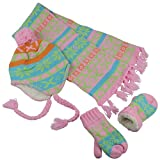 N'Ice Caps Little Girls and Infants Sherpa Lined Knitted 3 PC Set with Designs (2-4yrs, Coral/Pink/Multi)