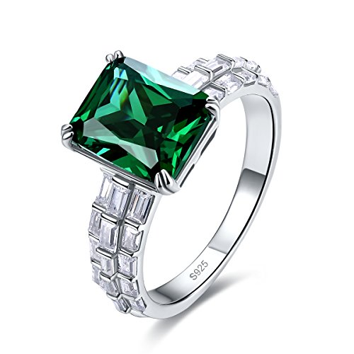 Emerald Stone Leaf - Merthus 925 Sterling Silver Synthetic Emerald Stone Engagement Emerald Cut Ring for Women