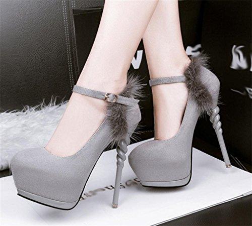 Mujer Boda Toe Stiletto Strap Kitzen Señalada Elegante Heel Tobillo Corte Close Casual Gray Zapatos Kitten z877dqw