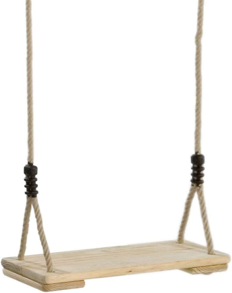 Swing,Pine Swing Seat, Wooden Classic Hanging Outdoor Patio & Garden Playground Hammock - Height Adjustable, with Spring Hook and Connecting Strap