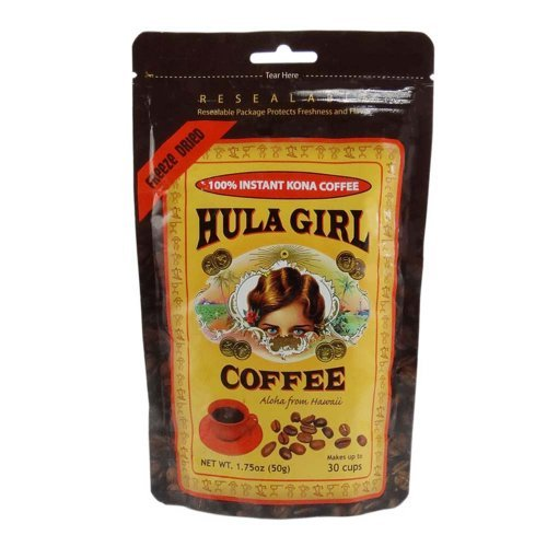 Hula Bit of skirt Instant 100% Hawaiian Kona Coffee Freeze Dried Pouch (1.75 Ounce 50 Gram) - 1pc
