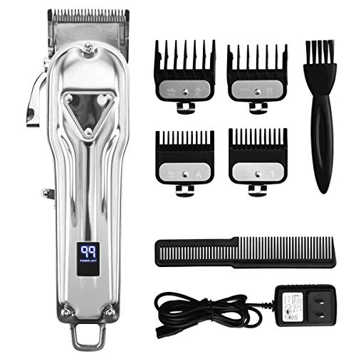 JVVD Professional Silver Electric Hair Clippers Men Beard Trimmer Barber Grooming Kit Rechargeable Cordless Haircut Machine