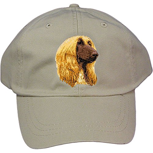 Cherrybrook Dog Breed Embroidered Adams Cotton Twill Caps - Stone - Afghan Hound