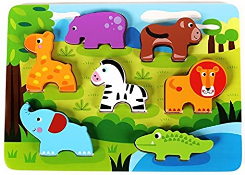 Cute Wild Animals Chunky Wooden Puzzle for Toddlers, Preschool Age w/