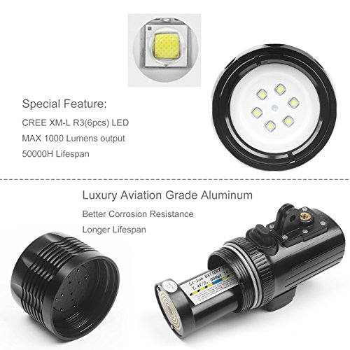 D&F Waterproof Torch LED Light 1000LM Diving 60m Video Flashlight Lamp for GoPro Hero 7/6/5/4/HERO(2018), AKASO,Campark,Crosstour,APEMAN and Other Action Sports Camera by D&F (Image #1)