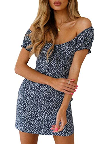 BerryGo Women's Vintage Off Shoulder Backless Floral Print Beach Mini Dress Blue 3-M