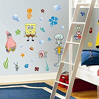 Amazoncom RoomMates RMKSCS SpongeBob Squarepants Peel - Spongebob room decals