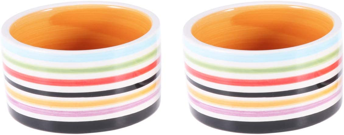 POPETPOP Hamster Feeding Bowl-2pcs Ceramic Food Dishes for Guinea Pig ,Rat,Gerbil,Hedgehog,Syrian Hamster Small Pets(Random Color)