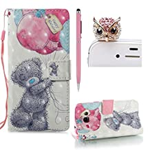 For Samsung Galaxy J3 2016 Flip Leather Case,SKYXD New Look 3D Pattern Design Leather Wallet with Card Holder Folio Flip Bookstyle Full Body Protection Case Cover for Samsung Galaxy J3 2016 + 1x Stylus + 1x Dust Plug,Balloon Bear