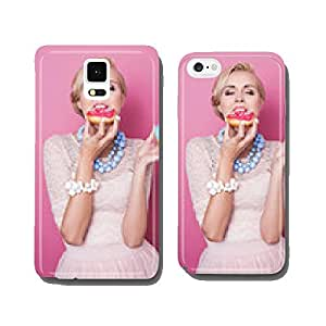 Beautiful blonde women eating colorful dessert. Fashion shot cell phone cover case Samsung S6