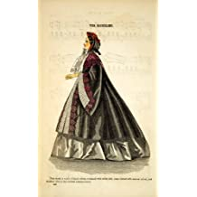 1862 Wood Engraving Victorian Lady Cloak Passementerie Godey's Fashion Plate - Original In-Text Wood Engraving