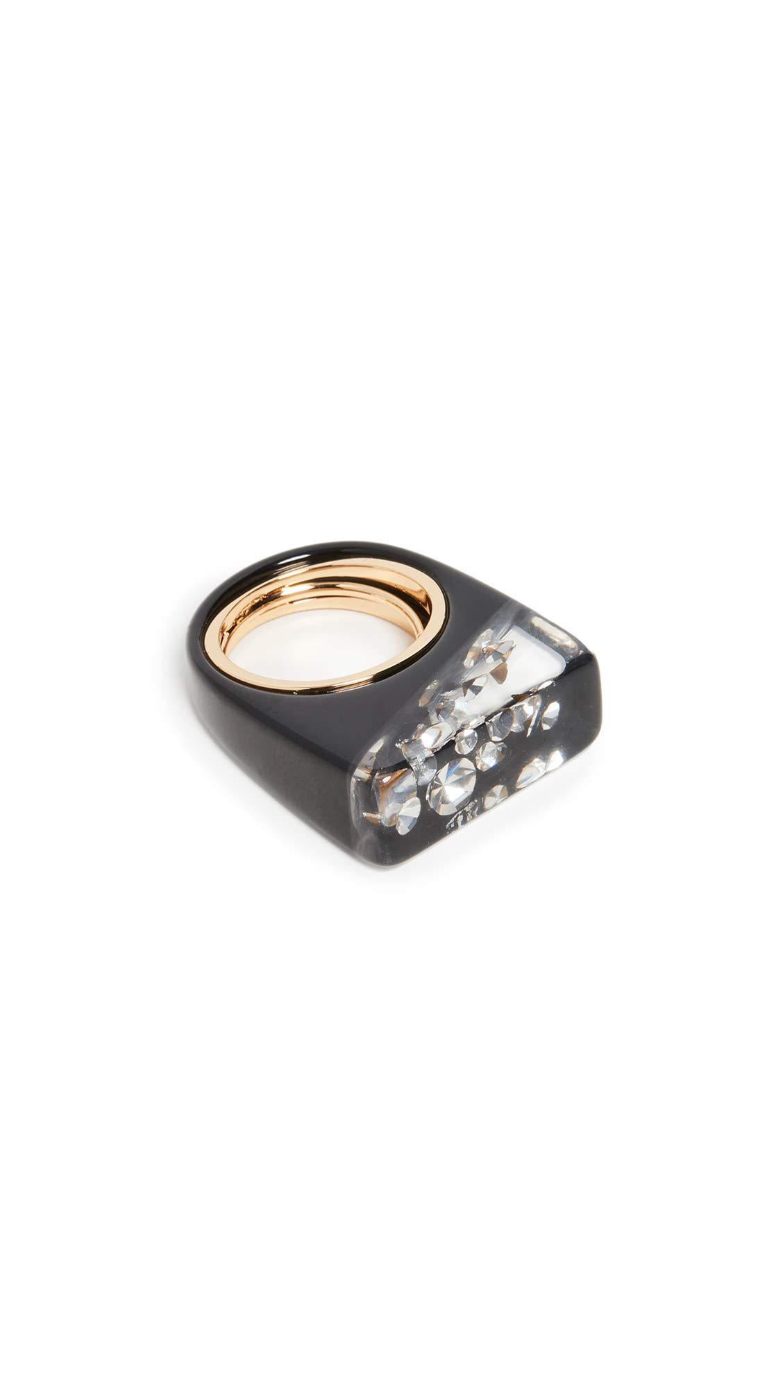 Marc Jacobs Women's Rectangle Crystal Resin Ring, Black, One Size