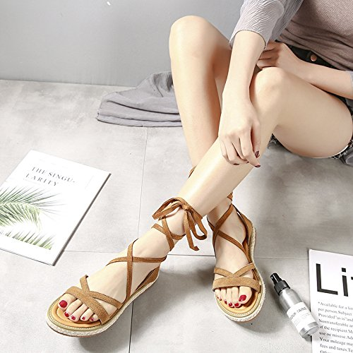 for Sandals Suede Y up Strappy Women Shoes Flat Tan Lace Leather M Gladiator X IfTwqIU