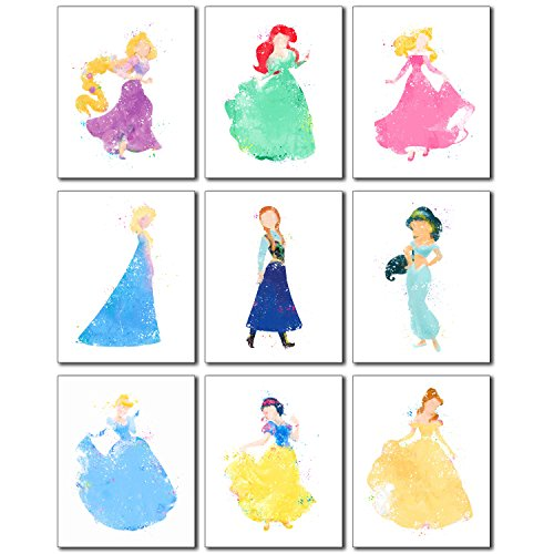 Disney Princess Watercolor Prints - Set of Nine 8x10 Photos - Rapunzel Ariel Aurora Elsa Anna Jasmine Cinderella Snow White (Disney Princess Framed Art)