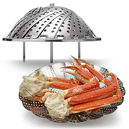 Premium Vegetable Steamer Basket , 430 Stainless Steel Expandable Food Steamer Container With Legs for Kitchen Cooking Vegetables, Seafood, Dumplings and Fruit