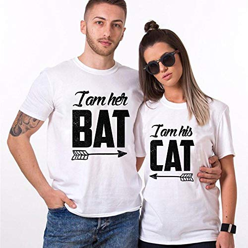 I'm Her Bat & I'm His Cat Matching Couple His Her, Wifey Hubby, Mr Mrs Customized T-Shirt Hoodie/Long Sleeve/Tank -