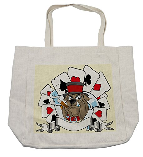 Lunarable Poker Tournament Shopping Bag, Cartoon Style Bulldog with Playing Cards Ribbon Rich Winner Image Print, Eco-Friendly Reusable Bag for Groceries Beach Travel School & More, (Dog Costume Winners)
